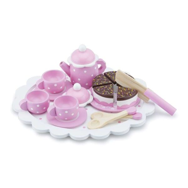 Kaffeservice mit Kuchen Pink