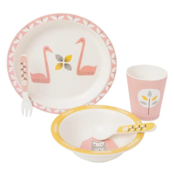 Fresk Bambus dinner Set Schwan