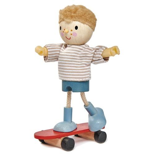 Biegepuppe Edward & Skateboard