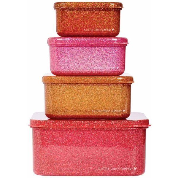ALLC Lunch & Snack Box Set Glitter Pink